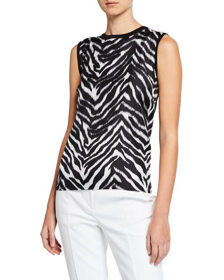 St. John Collection Zebra-Front Knit Pullover Top