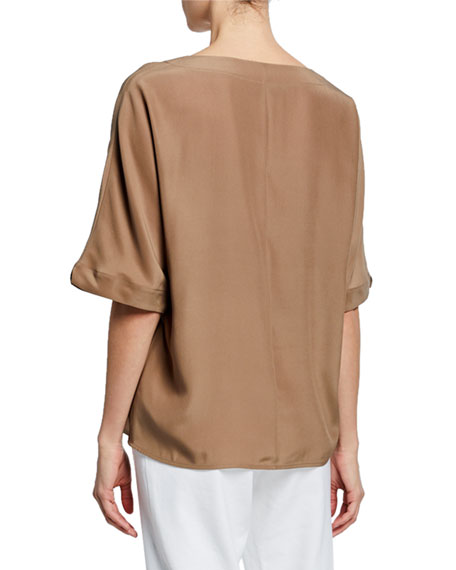 St. John Collection V-Neck Elbow-Sleeve Plain Weave Dolman Top