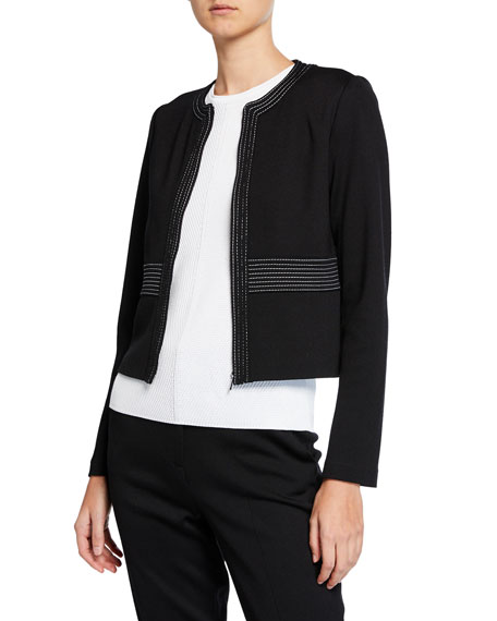 St. John Collection Milano Knit Topstitch Jacket