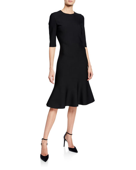 St. John Collection Luxe Sculpture Knit Elbow-Sleeve Fit-and-Flare Dress