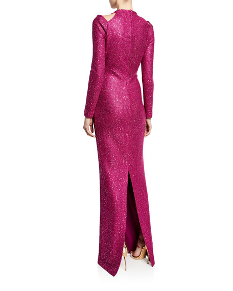 St. John Collection Luxe Sequin High-Neck Long-Sleeve Gown with Shoulder Cutouts