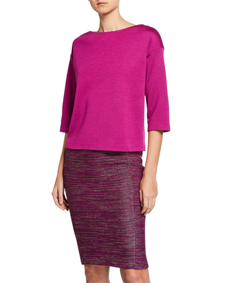 St. John Collection Milano Knit 3/4-Sleeve Top