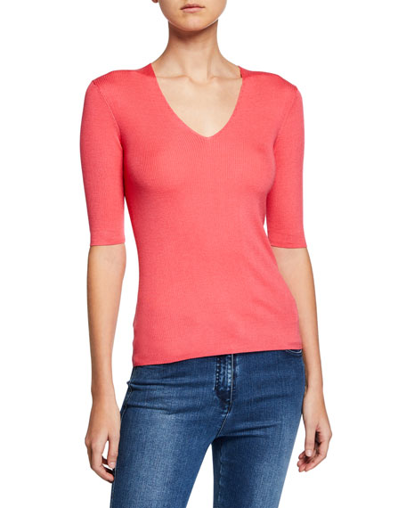 St. John Collection Rib Knit V-Neck Top