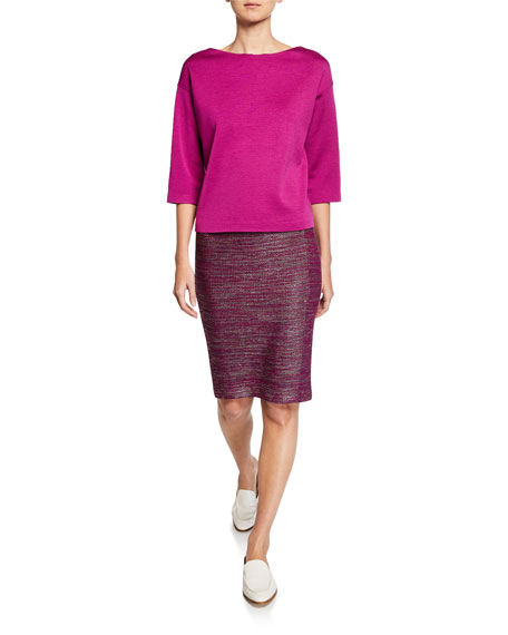 St. John Collection Ombre Ribbon Tweed Pencil Skirt