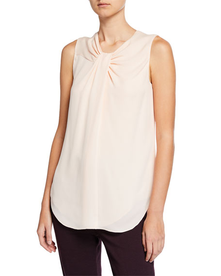 St. John Collection Twisted-Neck Silk Georgette Shell Top