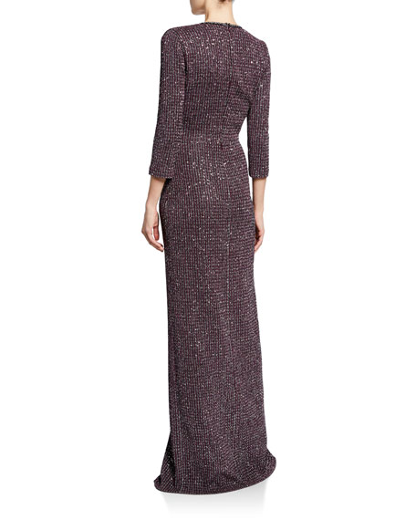 St. John Collection V-Neck Fine Sequin Tweed Gown with Front Slit