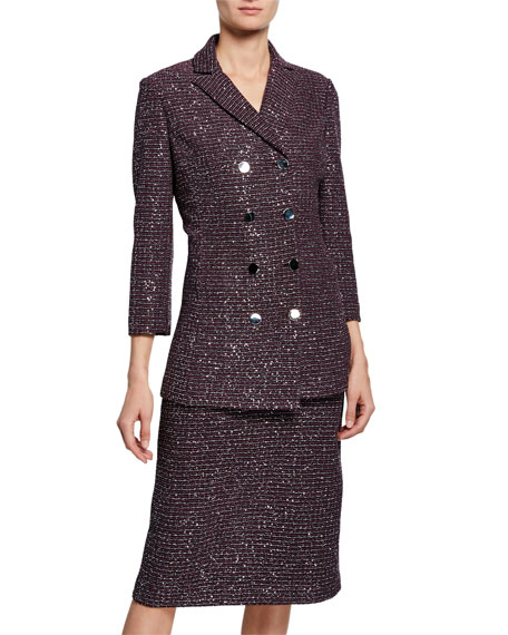 St. John Collection Sequin Tweed Knit Double-Breasted Jacket