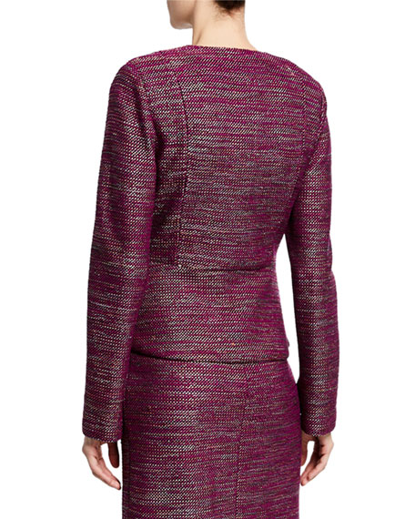 St. John Collection Plunging V-Neck Ombre Ribbon Tweed Jacket