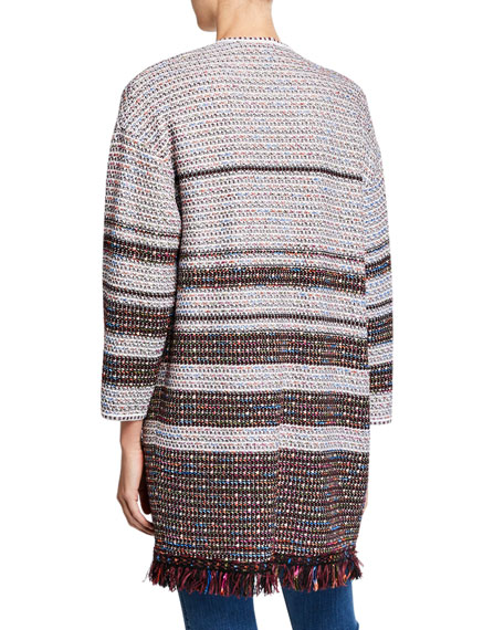 St. John Collection Tweed Open-Front Fringe Cocoon Jacket