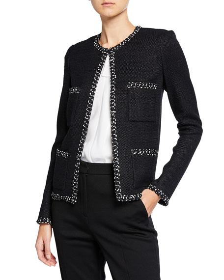 St. John Collection Modern Tweed Jacket w/ Knit Trim
