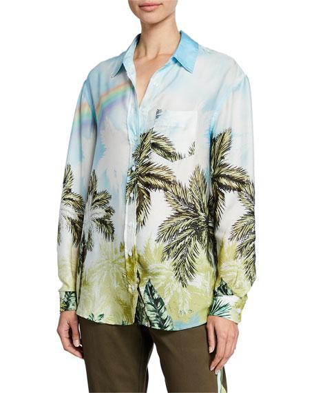 Le Superbe Future Ex Bf Palm Tree Button-Up Shirt