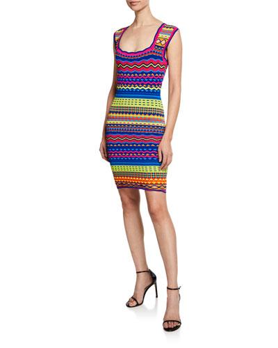 Technicolor Textured Square-Neck Mini Dress