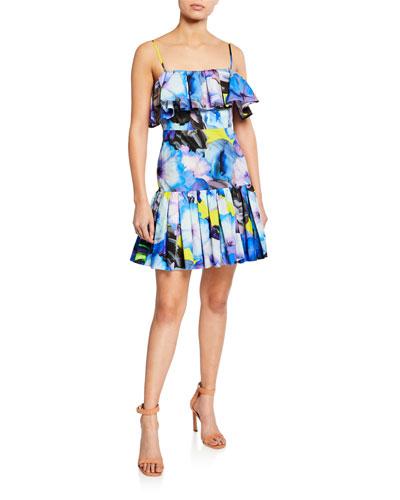 Abstract Floral-Print Sleeveless Ruffle Dress