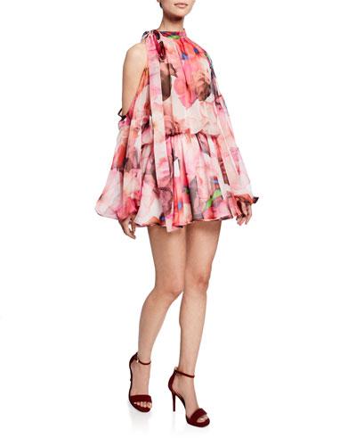 Abito Printed Tie-Neck Long-Sleeve Blouson Mini Dress