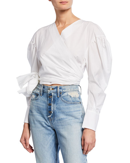 MSGM Puff-Sleeve Cropped Wrap Blouse