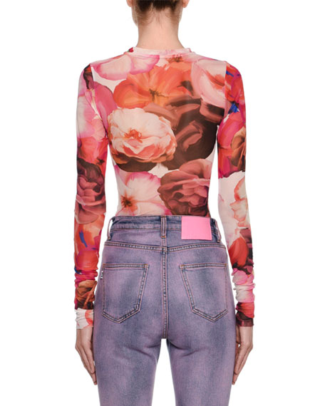 MSGM Fitted Long-Sleeve Floral-Print Blouse