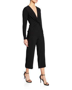 77b9fb64913 Self-Portrait V-Neck Long-Sleeve Twist-Front Cropped Jumpsuit