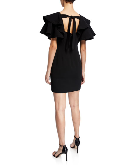 cinq a sept Ambrose V-neck flounce-sleeve mini dress