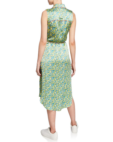 cinq a sept hazel floral button-down sleeveless dress