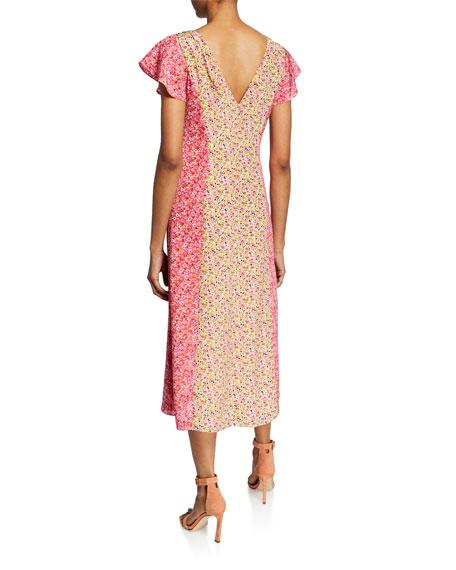 cinq a sept Jessica Colorblock Floral-Print Short-Sleeve Midi Dress
