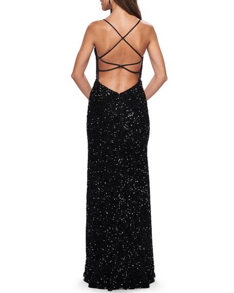 La Femme Sequin Plunge-Neck Strappy-Back Column Gown