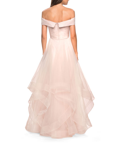La Femme Off-the-Shoulder Banded-Sleeve Tulle Gown with Tiered Ruffle Skirt