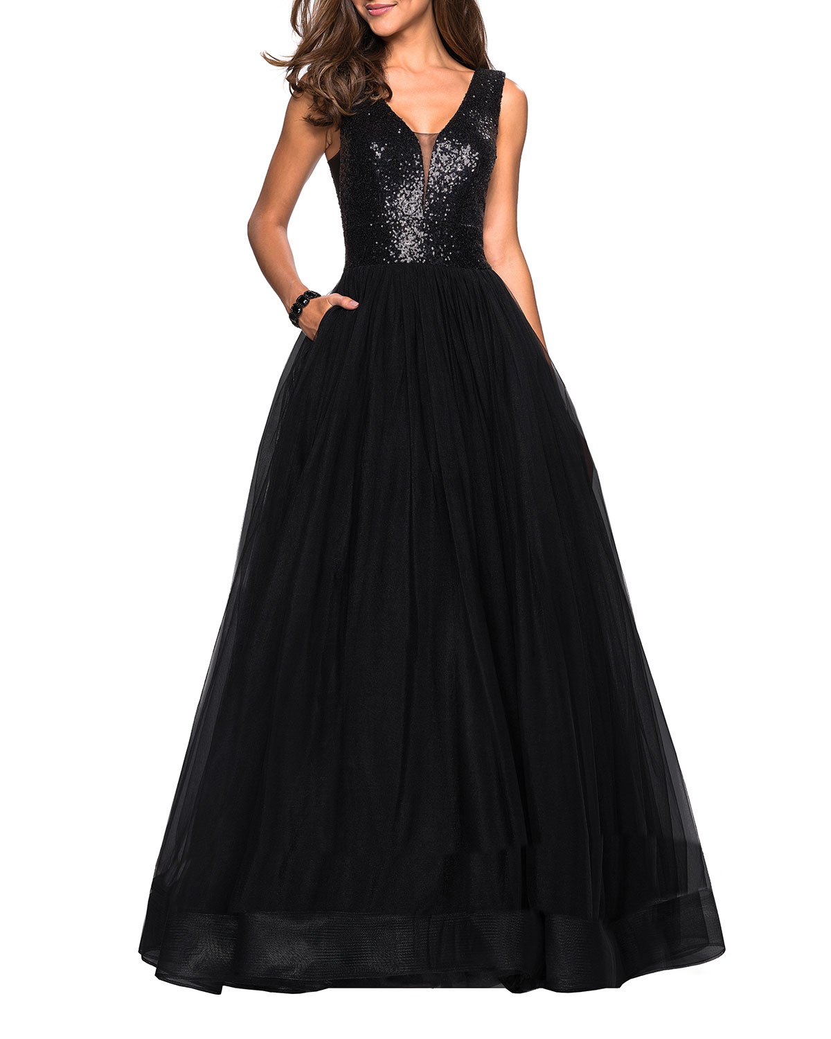 2c630afcb03 La Femme Sequin-Bodice V-Neck Sleeveless Tulle Ball Gown with Pockets