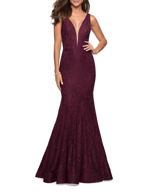 a8b04e220c La Femme V-Neck Sleeveless Stretch-Lace Mermaid Gown