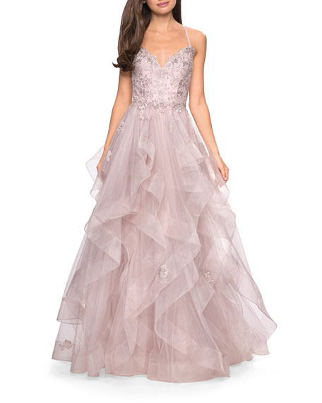 La Femme Sweetheart Sleeveless Lace Applique & Tiered Tulle Ball Gown
