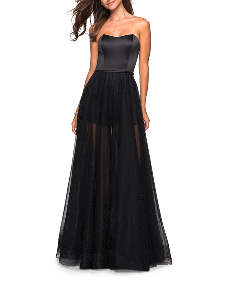 La Femme Strapless Sweetheart Beaded Tulle Gown with Satin Bodice and Shorts