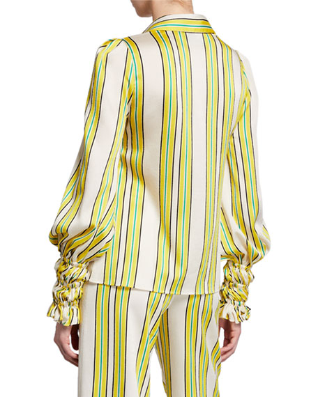 Image 2 of 2: Catina Striped Button-Front Long-Sleeve Satin Top