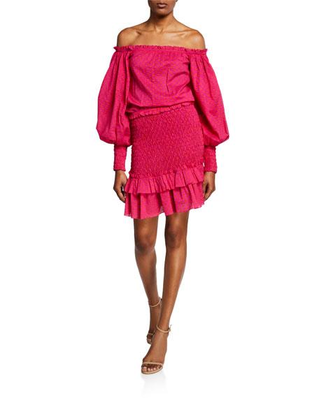 Alexis Marilena Smocked Off-Shoulder Blouson-Sleeve Dress