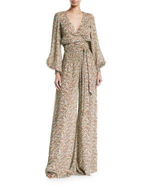 a09191dc780e5 Alexis Esperanza Floral Blouson-Sleeve Jumpsuit