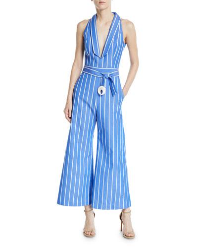Eckhart Striped Sleeveless Wide-Leg Jumpsuit
