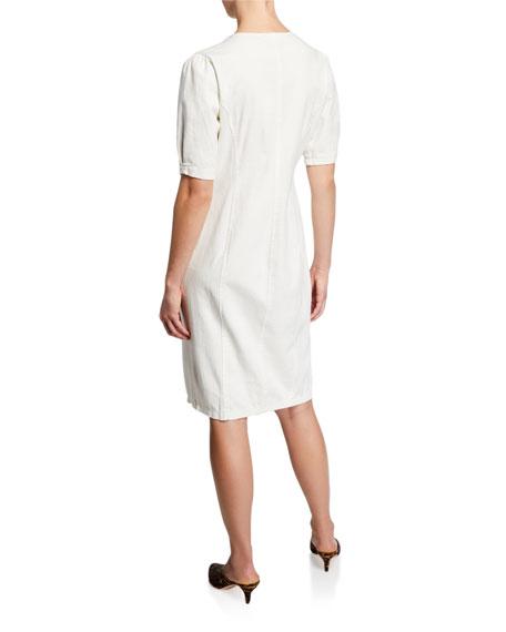 ASTR Logan Button-Front Short-Sleeve Dress