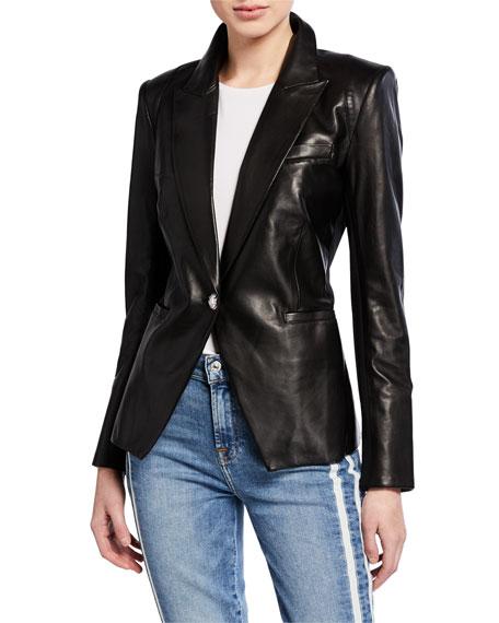 Veronica Beard Havana Single-Button Leather Jacket