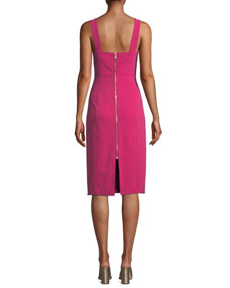 Veronica Beard Cattleya Square-Neck Sleeveless Sheath Dress