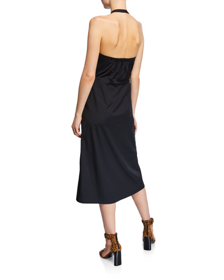 Veronica Beard Disa Ruched Button-Front Halter Dress