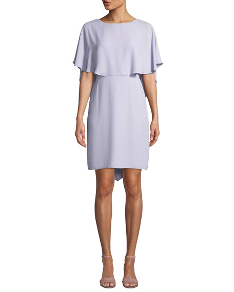 Halston Heritage Cape-Sleeve Draped-Back Georgette Cocktail Dress