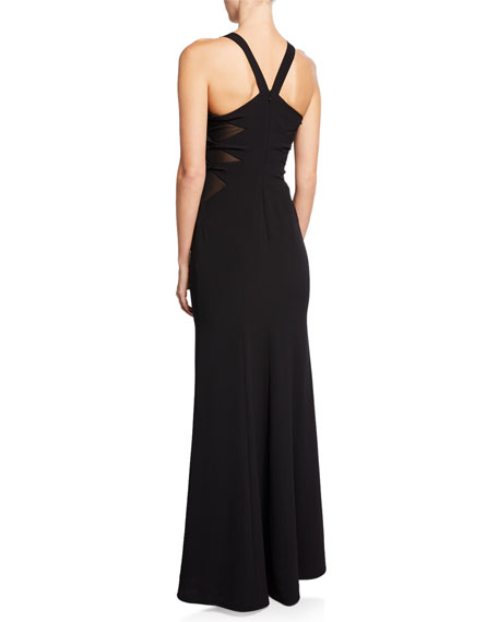 Halston Heritage Sleeveless High-Neck Crepe Gown with Side Twist Detail