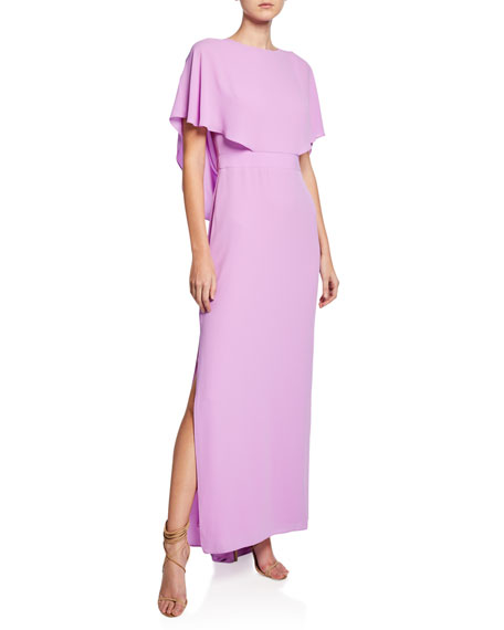 Halston Cape-Sleeve High-Neck Gown with Draped Back Detail