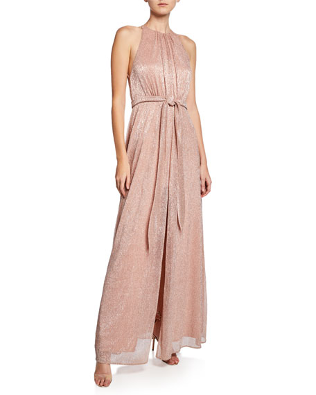Halston Heritage High-Neck Sleeveless Metallic Knit Gown with Strappy-Back