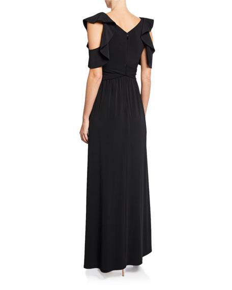 Halston Flutter-Sleeve Cold-Shoulder V-Neck Jersey Gown