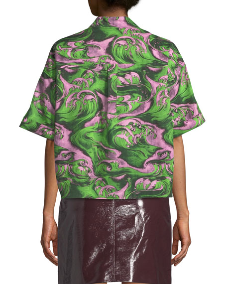 McQ Alexander McQueen Knot-Front Printed Button-Down Shirt