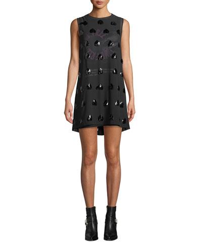 Embellished Sleeveless Mini Shift Dress