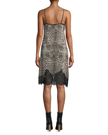 McQ Alexander McQueen Lace Panel Animal-Print Slip Dress