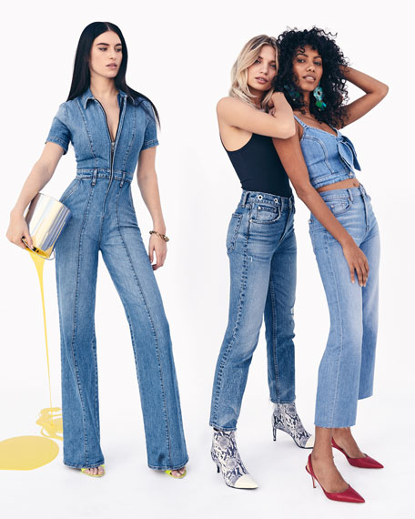 Rag & Bone Maya High-Rise Ankle Straight Jeans w/ Grommets