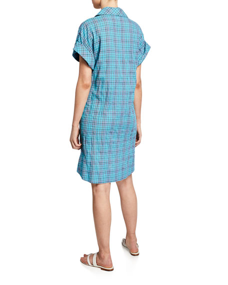 Finley Charlie Bermuda-Plaid Short-Sleeve Shirtdress