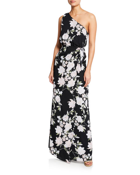 WAYF The Penny Floral-Print One-Shoulder Gown with Tie-Waist