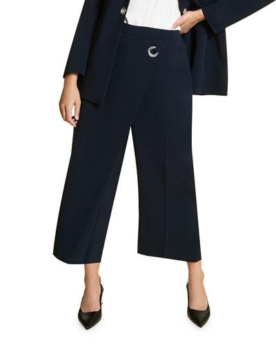 Plus Size Recinto High-Rise Culottes w/ Drape Front Detail